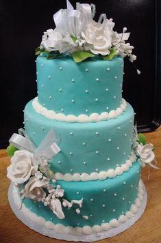 Bolo de casamento redondo azul