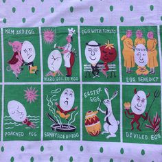 Vintage Egg Novelty Fabric Mod 50s 60s Retro Easter