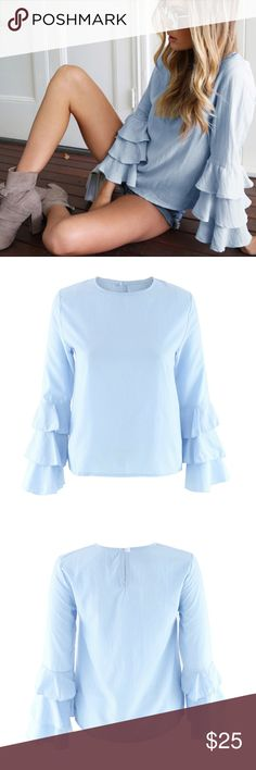 Bell Sleeve Blouse crew neck, bell sleeve, polyester blend, and lightweight, not see thru. Tops Blouses