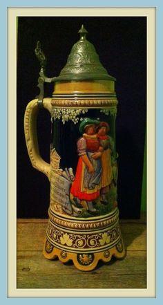 Vintage, Musical, Lidded Beer Stein, German Stein, Germany, Ceramic