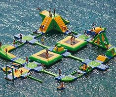 Now you can own your very own floating playground in your backyard lake and save on expensive ticket prices to privately owned water parks. The floating playground is a massive collection of various floating parts that supports up to 60 participants at a time.     Buy It     $69,995.00     via WibitSports.com