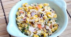 If you have never tried Mexican corn, it is a must. This is that corn as a salad. Great Recipes, Snack Recipes, Yummy Recipes, Favorite Recipes, Mexican Corn Salad, Summer Side Dishes, Corn Salads, Tasty Kitchen, Good Food