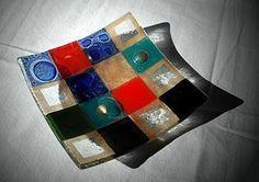 TEPESTRI - Bandejita de vidrio a cuadros