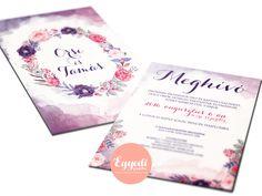 Egyedi virágos vízfesték hatású esküvői meghívó | Unique flower and watercolor style wedding invitation card