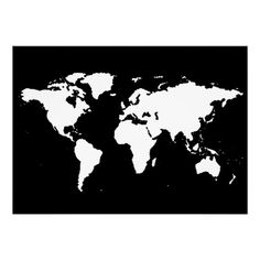 black and white world map poster  #Anthropologie #PinToWin