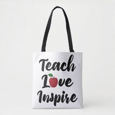 Teach Love Inspire Apple School Teacher Quote Tote Bag   first day of school questionnaire, back to school outfitd, end of school year crafts #backtoschoolxHuawei #backtoschoolmode #backtoschooltheme, back to school, aesthetic wallpaper, y2k fashion