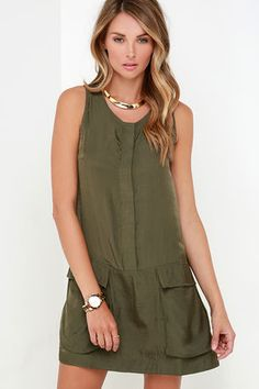Magical Moments Olive Green Sleeveless Dress at Lulus.com!