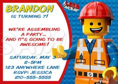 LEGO MOVIE PARTY INVITATION  Lego Movie - Personalized - Printable  by JustAddFrosting, $6.00