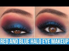 I am FINALLY uploading this patriotic halo eye makeup tutorial I have been promising you guys! I absolutely love this glam look and it's perfect for going ou. Halo Eye Makeup, Red Eye Makeup, Makeup For Brown Eyes, Cute Makeup, Party Makeup, Makeup Geek, Makeup Art, Blue Eyeshadow Looks, Red Eyeshadow
