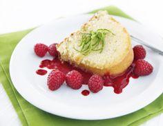 key lime pound cake with raspberry sauce