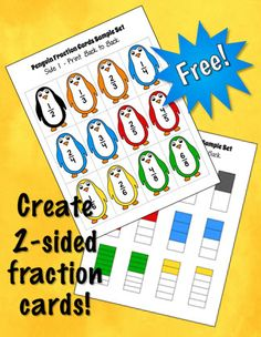 Free fraction cards with a penguin theme to use with the Penguin Fraction Predictions activity.