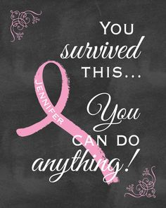 Breast Cancer Survivor Pink Ribbon Wall Art Personalized - Inspirational Message for Breast Cancer Survivor Personalized Survivor Printable
