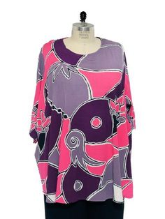 WeBeBop Plus Size Lagenlook Abstract Bird Print Swing Top We Be Bop. $79.00