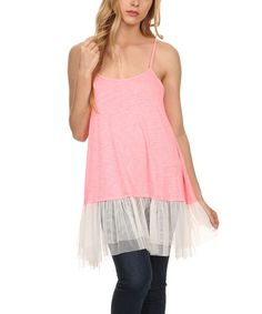 Loving this Pink Lace-Hem Tank - Plus Too on #zulily! #zulilyfinds