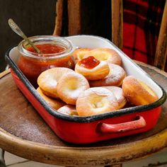 Ribboned Carnival Donuts, traditional Hungarian festive treat, serve with homemade apricot jam and powdered sugar - Farsangi fánk - Ungarische Krapfen Hungarian Cookies, Hungarian Desserts, Hungarian Cuisine, Hungarian Recipes, European Cuisine, Pavlova, Dessert Recipes, Breakfast Recipes, Brunch Recipes