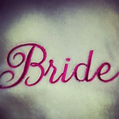 bride embroidery in hot pink