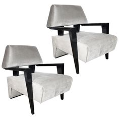 Pair of Sculptural Armchairs in Platinum Velvet in the Style of James Mont