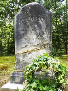 "Birth:  1812  Death:  May 25, 1885   Bathsheba Sherman was supposed to be the witch whose ghost haunted the Perron family home in the movie ""The Conjuring."" In the book ""House of darkness, House of Light: The True Story"" by Andrea Perron, Bathsheba's death certificate in 1885 contained a note by the doctor that ""her body was literally turning to stone.""    Spouse:   Judson Sherman (1811 - 1881) Child:   Herbert L. Sherman (1851 - 1903)"