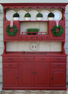 """Red Painted Hutch-Annie Sloan Emperor's Silk with Clear and Dark Wax; Background in Old Ochre. Painted by """"The Splattered Smock""""  www.facebook.com/TheSplatteredSmock"""