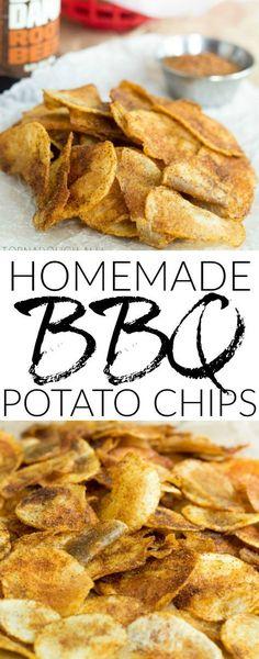 Fried Potato Chips, Homemade Chips, Homemade Bbq, Oven Potato Chips, Potato Snacks, Sweet Potato Chips, Easy Snacks, Yummy Snacks, Kitchen