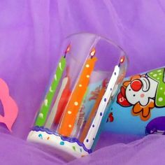 Hand Painted Birthday Candles Shot Glass by PaintsyKate on Etsy, $6.00