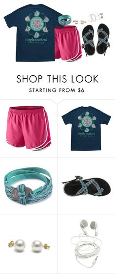"""""""So rock me momma like a wagon wheel Rock me momma any way you feel Hey momma rock me Rock me momma like the wind and the rain Rock me momma like a south bound train Hey momma rock me"""" by kaley-ii ❤ liked on Polyvore featuring NIKE, Chaco, women's clothing, women, female, woman, misses and juniors"""