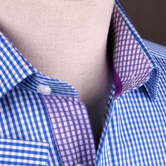 Now available on our store: Blue Gingham Chec... Check it out here! http://b2bshirts.com.au/products/blue-gingham-check-formal-business-dress-shirt-w-purple-inner-lining-in-button-cuffs?utm_campaign=social_autopilot&utm_source=pin&utm_medium=pin #shirts #b2bshirts #mensfashion #fashionshirts #dressshirts #sexy #style