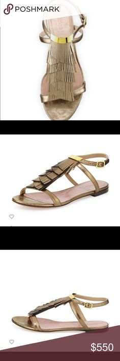 Chloe Fringe Ankle-Wrap Flat Sandal, Golden Bronze Chloe metallic leather sandal. Layered fringed vamp. Bar detail at top. Adjustable ankle strap. Golden hardware. Made in Italy. Chloe Shoes Sandals