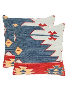 Kilim Square Pillows (Set of 2) by Safavieh Pillows at Gilt