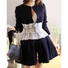Scoop Neck Lace Splicing Color Block Long Sleeve Women's Trench Coat