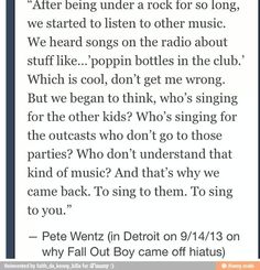 This is why I love Fall Out Boy.