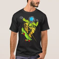 #funny - #Space Color Skateboard T-Shirt