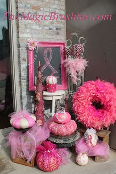"""Jennifer's pumpkin painting obsession in a """"breast cancer awareness front porch decorating contest""""!  www.themagicbrushinc.com"""