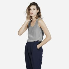 Everlane Silk Tank, $58, available at Everlane. #refinery29 http://www.refinery29.com/body-types-flattering-clothing-guide#slide-15