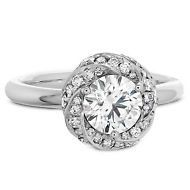 0.90ct Round Cut Diamond Flower Inspire 18k White Gold Solitaire Engagement Ring