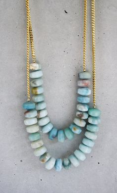 Long+Amazonite+and+Gold+Chain+Necklace+by+shopkei+on+Etsy,+$65.00