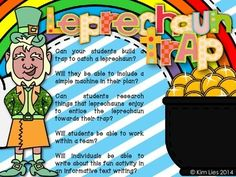 This lesson includes: - a STEM foldable for students to complete -a page for students to draw a diagram of their project - parent letter with CCSS and supply wishlist - leprechaun sighting evidence notes - leprechaun notes (Can't catch me, etc.) - leprechauns in all sizes to place inside the traps - writing craft with 2 leprechauns and 2 writing choices - Oh Leprechaun!