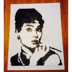 Audrey Hepburn portrait hama beads by krismaling