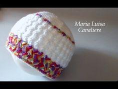 Cappello neonato 0 - max 6 mesi all'uncinetto video tutorial punto freccette e punto puff incrociato - YouTube
