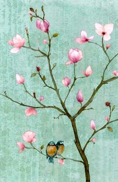 Chris Chun - 2 birds in a magnolia tree. Such a simple composition; it's the color choice that make this so incredible!