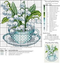 May Teacup, Lily of the Valley Free Cross Stitch Pattern Counted Cross Stitch Patterns, Cross Stitch Charts, Cross Stitch Designs, Cross Stitch Embroidery, Embroidery Patterns, Hand Embroidery, Cross Stitch Kitchen, Cross Stitch Flowers, Lily Of The Valley