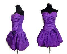 Vintage 80s Prom Dress Strapless 80s Mini Dress by SissysVintage
