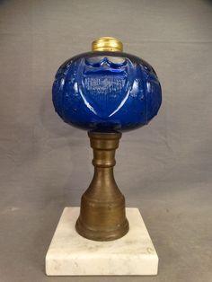 19thC Antique CIVIL WAR Era SHIELD & STARS Primitive PRESSED GLASS Old OIL LAMP
