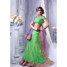"""Green Color Soft net Designer Lehenga."""" (Mahee ACVND: 1055) Rs. 2808.00 