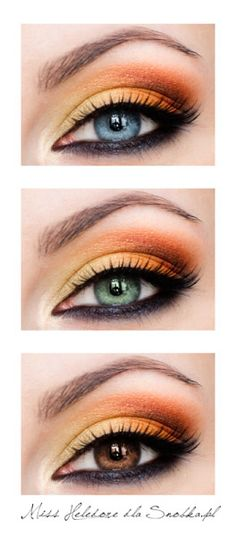 yellow and orange eyeshadow on blue, green and brown eyes