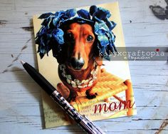 MOTHERS DAY Card Dachshund by kalyxcraftopia.etsy.com
