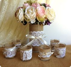 Items similar to burlap and lace covered votive tea candles and vase country chic wedding decorations, bridal shower decor, home decor on Etsy Wedding Vases, Diy Wedding, Rustic Wedding, Burlap Wedding Decorations, Bridal Shower Decorations, Lace Vase, Burlap Crafts, Bridal Shower Rustic, Party Centerpieces