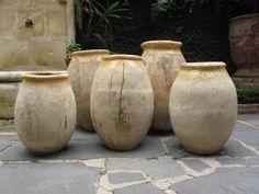 antique french olive jars. antiques de provence. new orleans.