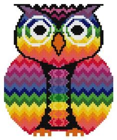 Bargello Zig-zag Chakra Owl Counted Cross Stitch Pattern PDF