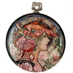 Art Nouveau Style HAND PAINTED MOTHER PEARL 925 SILVER LACQUER PENDANT Russian